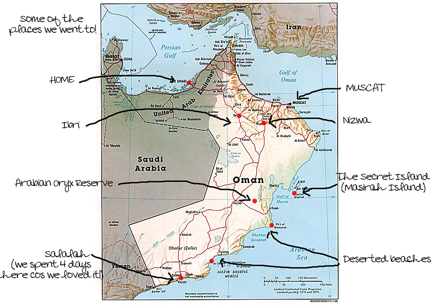 road map of oman. Oman-road-trip-map