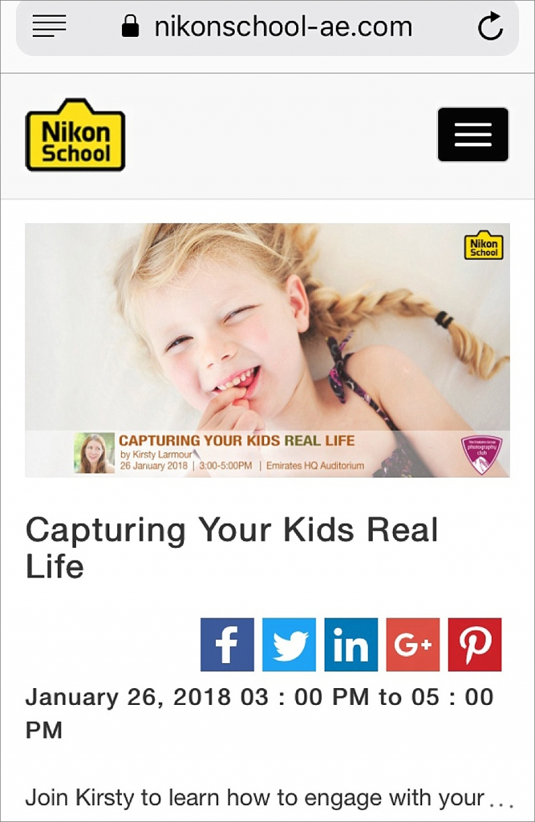 "Kirsty Larmour, ""Capturing your kids real life"" Nikon Photo School Teacher, UAE Photographer"