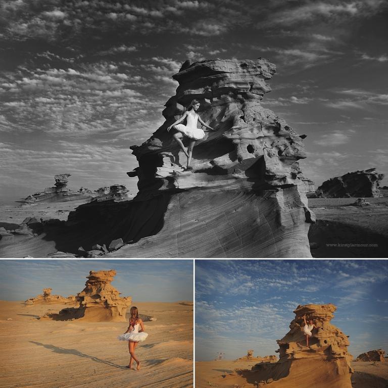 A Ballerina at the fossil rocks in Al Wathba Abu Dhabi