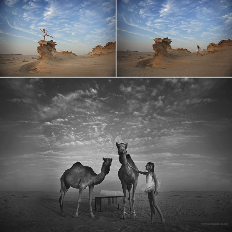 Camels and a girl at the fossil rocks Al Wathba Abu Dhabi