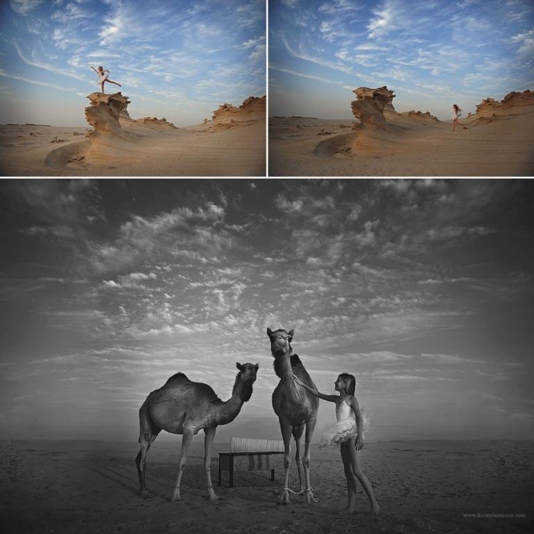 Camels and a girl at the fossil rocks Al Wathba Abu Dhabi
