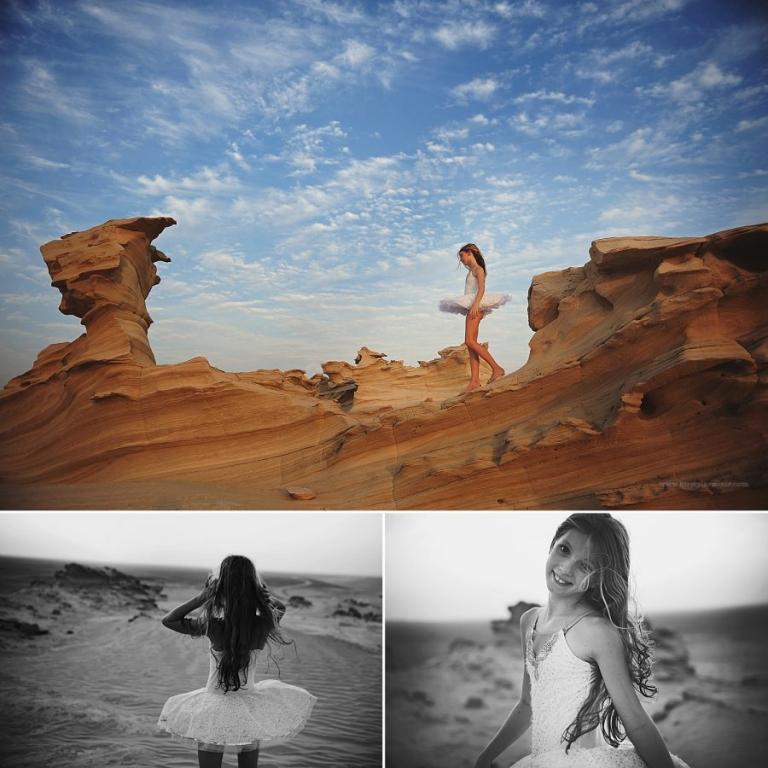 A girl in a tutu walks through the Fossil rocks in Abu Dhabi